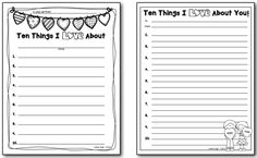 """Free Writing Templates for Daniel Kirk's Picture Book, """"Ten Things I Love About You""""  (Blog Post from Creating Readers and Writers)"""