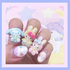Home Nail Salon, Hello Kitty Nails, Nail Tips, Sanrio, Nail Art, Kawaii, Instagram Posts, Cute, Beauty