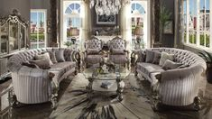Acme Furniture Versailles Collection 4 PC Living Room Set with 2 Sofas + 2 Chairs in Antique Platinum Color Acme Furniture, Furniture Deals, Rustic Furniture, Outdoor Furniture Sets, Antique Furniture, Modern Furniture, Furniture Online, Furniture Layout, White Furniture
