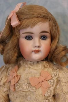 "17"" Antique Lovely Closed Mouth German Bisque Kestner doll BJtd Body H.Hair Wig"
