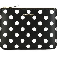 Comme Des Garçons Wallet Polka Dots Printed  Pouch (175 AUD) ❤ liked on Polyvore featuring bags, wallets, clutches, black, leather pouch, dot bag, leather pouch bag, real leather bags and zip top bag