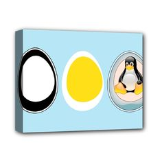 """LINUX+TUX+PENGUIN+IN+THE+EGG+Deluxe+Canvas+14""""+x+11""""+(Framed)+Deluxe+Canvas+14""""+x+11""""+(Stretched)"""