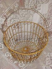 Vintage Primitive Yellow Wire Farm Egg Basket Gathering CHIC Country Shabby