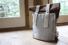 Waxed Canvas Backpack - Weather Resistant - Stripes - Roll Top - Front Pocket.