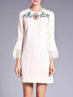 Beige Crew Neck Guipure Floral Embroidered Frill Sleeve Mini Dress