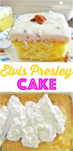 Elvis Presley Cake This Elvis Presley Cake starts with a boxed cake mix and topped with an amazing pineapple glaze and the most delicious homemade pecan frosting! Elvis Presley Cake Th Köstliche Desserts, Delicious Desserts, Dessert Recipes, Southern Desserts, Elvis Presley Kuchen, Vegetarian Cake, Gateaux Cake, Pineapple Cake, Cake Mix Recipes