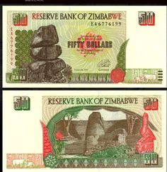 Zimbabwe 50 Dollars 1994 (Re Matapos Rocks, Zimbabwe ruins) Old Money, Zimbabwe, People Of The World, Coin Collecting, Vintage World Maps, African, Heaven, Bikini, Memories