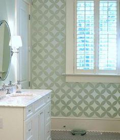 Love this stenciled bathroom wall!