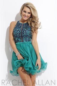 Rachel Allan Princess 2810 Beautiful 2-tone Racerback Dress with AB Accents #homecoming2014 #racerback