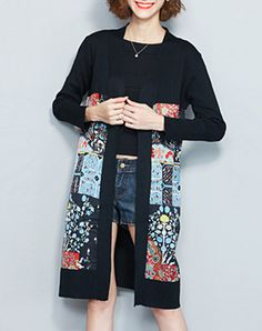 Check the details and price of this Printed Paneled Long Sleeve Casual Cardigan (Black, HAMEI) and buy it online. VIPme.com offers high-quality Sweaters & Cardigans at affordable price.