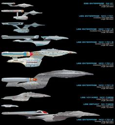 Federation Starship design lineage, 2151-2379 USS Enterprise from NX01 to 1701  E,along with the USS Voyager and USS Defiant