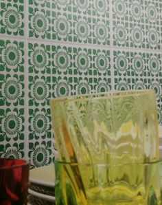 Green and White patterned kitchen tiles Patterned Kitchen Tiles, Ceramic Design, Valance Curtains, Green, Home Decor, Decoration Home, Room Decor, Home Interior Design, Valence Curtains