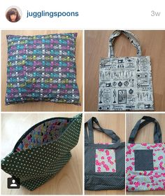 SOIshowoff April: Intro to Sewing spoils. A cushion, tote bag, zipped make-up bag and reversible tote