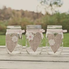 Burlap mason jar. Wedding Centerpiece.