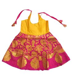 Silk Frocks Online, Just Born Silk Frock Yellow and Pink Girls Frock Design, Kids Frocks Design, Baby Frocks Designs, Baby Dress Design, Kids Party Wear Dresses, Kids Dress Wear, Kids Gown, Dresses Kids Girl, Kids Blouse Designs