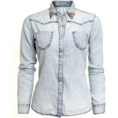 MUSTHAVE Gebleekte denim blouse met gouden studs ❤ liked on Polyvore