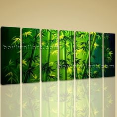 "Large Original Abstract Feng Shui Painting Giclee Print Bamboo Zen Art On Canvas Extra Large Wall Art, Gallery Wrapped, by Bo Yi Gallery 76""x36"". Large Original Abstract Feng Shui Painting Giclee Print Bamboo Zen Art On Canvas Subject : Bamboo Style : Contemporary Panels : 7 Detail Size : 10""x36""x7 Overall Size : 76""x36"" = 193cm x 91cm Medium : Giclee Print On Canvas Condition : Brand New Frames : Gallery wrapped [FEATURES] Lightweight and easy to hang. High revolution giclee..."