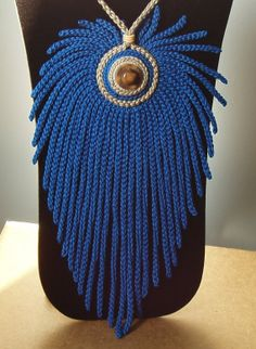 Totally Unusual Statement Pendant with Blue Crochet Graduated  Fringe Necklace