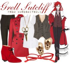 [Kuroshitsuji] Grell SutcliffRequested by Anonymous I cropped the guide image (on right) from this scan, which cosplayers would probably find very useful.  View all Kuroshitsuji-inspired outfits here.