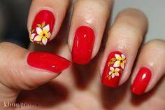 Red Polish w/White + Yellow Flowers