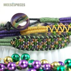 Mardi Gras Triple Wrap Leather Bracelet by meesespieces on Etsy