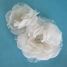 Wedding hair flower set Ivory Organza Lace Rose by HARTfeltart, $35.00
