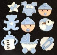 9 x edible icing Baby Boy themed cupcake toppers cake decorations by ACupfulofCake on Etsy £16.50