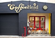 Coffeehead, Melbourne. Stunning shop front design. Love the signage.