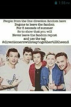 #directionerswillstaytogethertilltheend<< I'm in both fandoms and I love both Bands the same cuz they have different types of music but they also have the same type of music