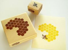Hand Carved Rubber Stamp Honeycomb and bee
