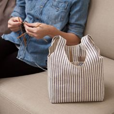 Project Bag (Ticking) {love the pockets inside for knitting needles, scissors, etc}