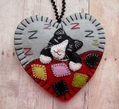 Tuxedo Cat Napping Ornament by SandhraLee on Etsy