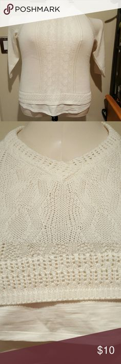 Liz Claiborne layered look lightweight sweater Cotton rayon blend lightweight sweater. Sweater has three quarter length sleeves and a v-neck. Around the bottom is material giving the appearance of a t-shirt underneath. Brand new without tags and never worn. Liz Claiborne Sweaters V-Necks