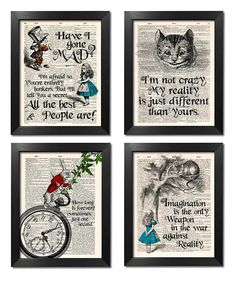 Alice in Wonderland Prints Set of 4 Alice Poster Alice Quotes Wall Art Sister Gift Alice Wall Decor Best Friend Gift Print Set [ART Alice im Wunderland Prints 4 Set Alice Poster Alice Sprüche Alice And Wonderland Tattoos, Alice In Wonderland Print, Alice Quotes, Drawn Art, Poster Prints, Art Prints, Wall Art Quotes, Sister Gifts, Antique Books