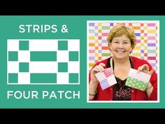 Jenny shows us how to make a Strips and Four Patch quilt using yardage and inch strips of precut fabric (jelly roll). We used Transformation by Sarah Vedeler for Benartex Contempo Studios. Learn how to chain piece and sew a fourpatch. Jenny Doan Tutorials, Msqc Tutorials, Quilting Tutorials, Strip Quilt Patterns, Strip Quilts, Patch Quilt, Quilt Blocks, Quilting Patterns, Star Patterns