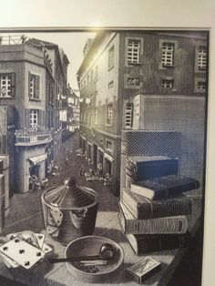 Escher still life with street