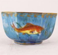 ANTIQUE WEDGWOOD OCTAGONAL BOWL LUSTRE FISH CARP DAISY MAKEIG JONES