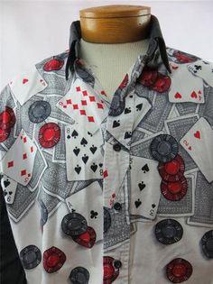 Brooks Dunn Panhandle Slim Men's Shirt Poker Chips Cards Red White Black XL | eBay $39.95