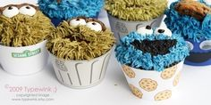 Sesame Street Cupcakes  PDF printable Package  by typewink on Etsy, $6.00