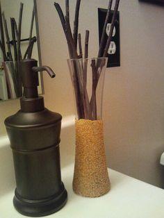 sand vase with dark wood sticks by ShabbyChicRusticHome on Etsy, $10.00