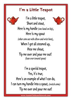 Im a Little Teapot Rhymes Worksheet