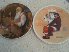 """Norman Rockwell Collector Plates,""""1983 and 1984 Christmas Plates, Certified Rockwell collector plates by Edwin M. Knowles by SocialmarysTreasures on Etsy"""