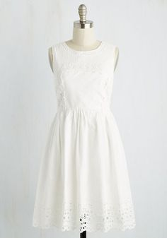Heartfelt Your Presence Dress - White, Solid, Casual, Sundress, A-line, Sleeveless, Spring, Woven, Better, Mid-length