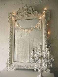 ornate white framed mirror, tiny fairy lights