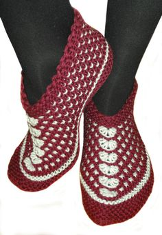 Hand knitted female slippers made of lamb wool and by galapagospg