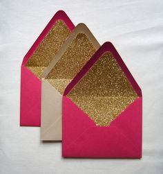Glitter lined envelopes for a theme // Set of 10 Gold Glitter Envelope Liners DIY wedding planner with di wedding ideas and tips including DIY wedding tutorials and how to instructions. Everything a DIY bride needs to have a fabulous wedding on a budget! Diy Wedding Planner, Wedding Planning, Glitter Wedding, Gold Glitter, On Your Wedding Day, Dream Wedding, Hot Pink Weddings, Envelope Liners, Invitations
