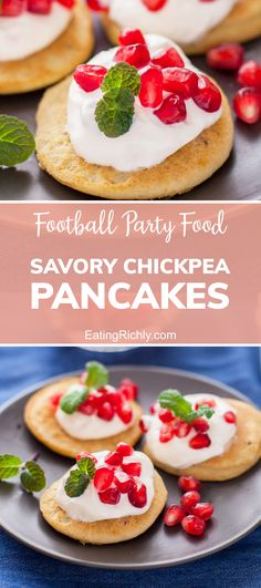 These savory chickpea pancakes are so pretty topped with colorful mint and pomegranate. Make up a batch to serve as part of your Super Bowl Party food menu! #seahawks #footballfood #footballparty #tailgating #superbowlfood #superbowlsnacks #gameday #gamedayfood #gamedaysnacks #footballpartyfood #appetizers #appetizerrecipes #snacks #snackrecipes #mini #tinyfood #savorypancakes