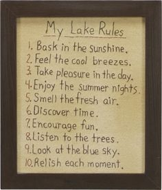 Stitchery - My Lake Rules | $28.75 www.lakerabuntrading.com