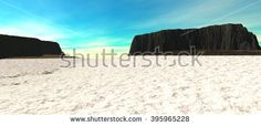 views of the countryside with two plateaus and with blue sky. Land covered by snow. 3D Illustration, 3D rendering - stock photo