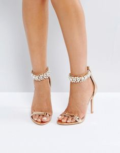 12bfdd382fa0 Public Desire Fiji Rose Gold Crystal Ankle Heeled Sandals